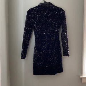 Black sequin open back dress